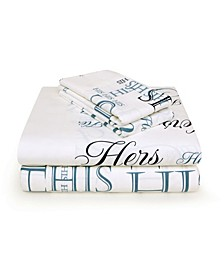 His and Hers Sheet Set of 4, 300 Thread Count, King