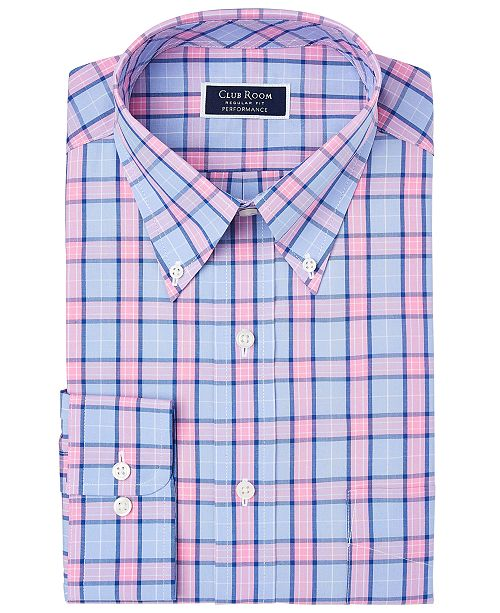 Club Room Men's Classic/Regular Fit Stretch Big Garden Plaid Dress Shirt, Created For Macy's