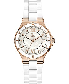 Gc Swiss Made Timepieces Women's Structura White Ceramic Bracelet Watch 36mm