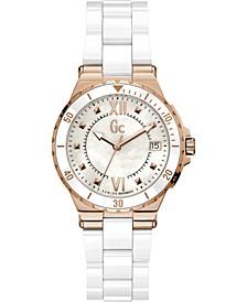 Gc Swiss Made Timepieces Women's Structura White Ceramic Bracelet Watch 36mm