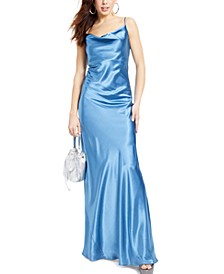 Juniors' Cowlneck Satin Gown