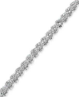 Diamond Bracelet in 10k White Gold 1 ct t w Bracelets