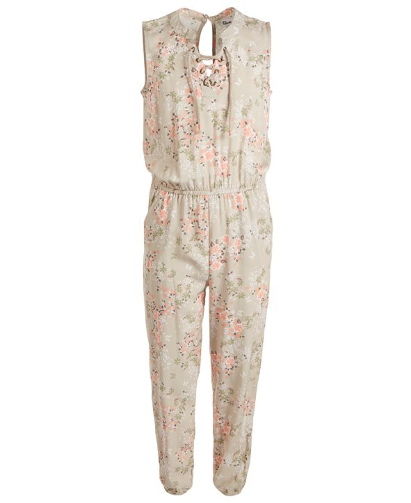 Epic Threads Big Girls Floral Lace-Up Jumpsuit, Created for Macy's