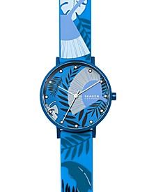 Women's Aaren Three-Hand Floral Print Blue Silicone Watch 36mm