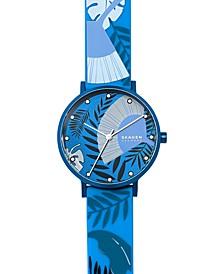 Women's Aaren Three-Hand Floral Print Blue Silicone Watch 36mm