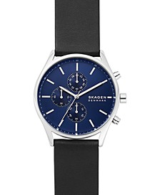 Men's Chronograph Holst Black Leather Strap Watch 42mm