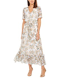 Puff-Sleeve Chiffon Maxi Dress