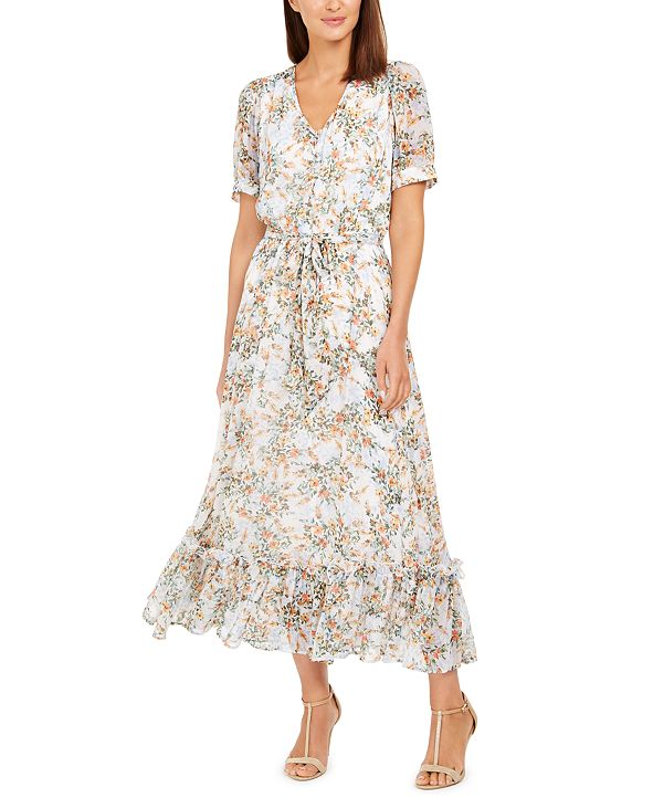 Calvin Klein Puff-Sleeve Chiffon Maxi Dress