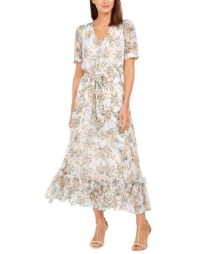 70s Dresses – Disco Dress, Hippie Dress, Wrap Dress Calvin Klein Puff-Sleeve Chiffon Maxi Dress $96.99 AT vintagedancer.com