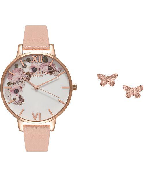 Olivia Burton Women's Pink Leather Strap Watch 38mm Gift Set