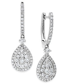 Diamond Cluster Teardrop Earrings in 14k White Gold (1 ct. t.w.)