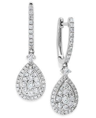 diamond cluster teardrop earrings in 14k white gold 1 ct t w