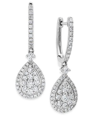 Diamond Cluster Teardrop Earrings in 14k White Gold (1 ct. t.w.)