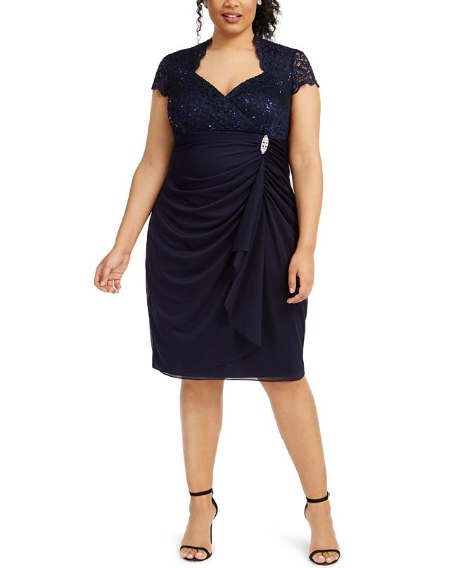 Betsy & Adam Plus Size Sequined Lace Draped Dress