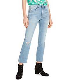 Distressed Straight Ankle Mid-Rise Jeans