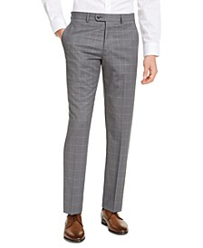 Men's Portfolio Slim-Fit Stretch Gray Windowpane Suit Pants