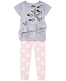 Little Girls 2-Pc. Ruffled Minnie Mouse Top & Printed Leggings Set