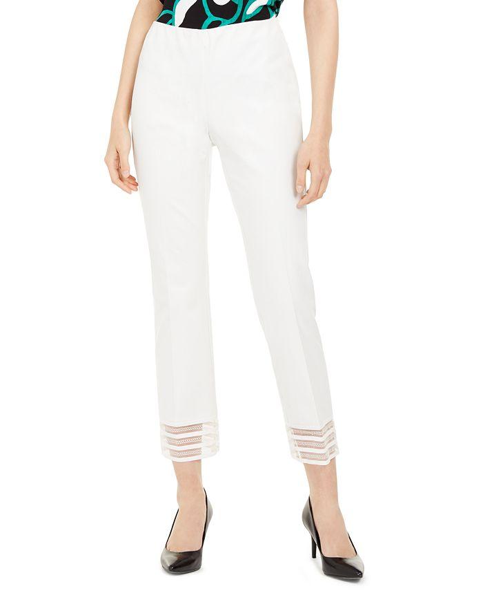 Alfani - Petite Lace-Hem Ankle Pants, Created For Macy's