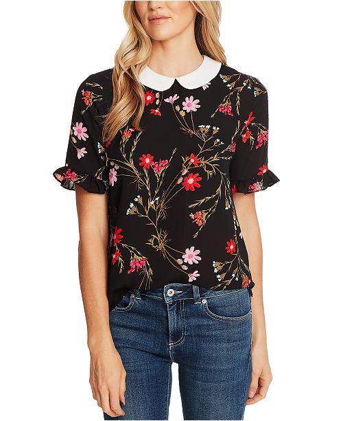 CeCe Floral-Print Peter-Pan-Collar Top