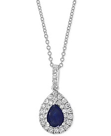 "EFFY® Sapphire (5/8 ct. t.w.) & Diamond (1/2 ct. t.w.) 18"" Pendant Necklace in 14k White Gold"
