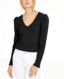 INC Petite Puff-Shoulder Ribbed Top, Created For Macy's