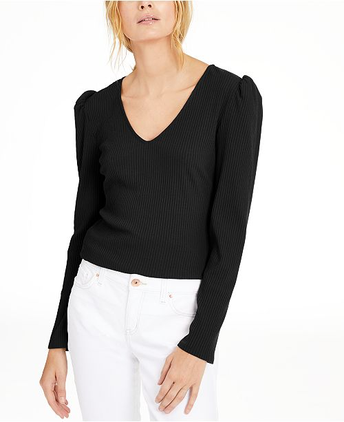 INC International Concepts INC Petite Puff-Shoulder Ribbed Top, Created for Macy's