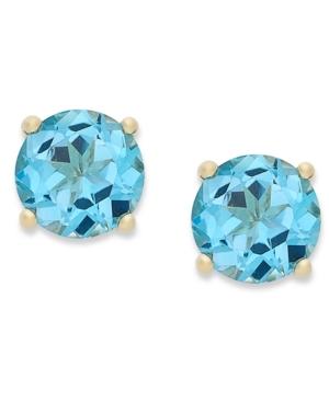 18k Gold over Sterling Sterling Earrings, December's Birthstone Swiss Blue Topaz Stud Earrings (2 ct. t.w.)