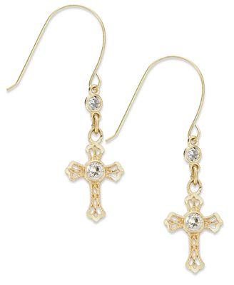 10k Gold Earrings, Cross Drop Earrings