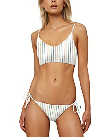 Juniors' Bridget Stripe Bralette Bikini Top & Side-Tie Bikini Bottoms