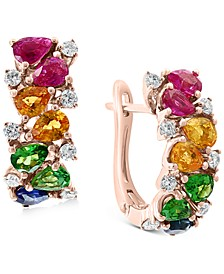 EFFY® Multi-Gemstone (2-1/3 ct. t.w.) & Diamond (1/3 ct. t.w.) Hoop Earrings in 14k Rose Gold
