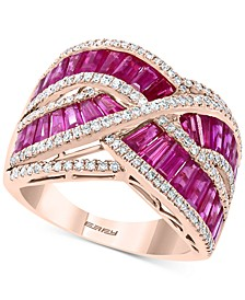 EFFY® Certified Ruby (4-1/8 ct. t.w.) & Diamond (1/2 ct. t.w.) Baguette Crossover Ring in 14k Rose Gold