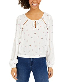 Juniors' Crochet-Inset Floral-Print Top