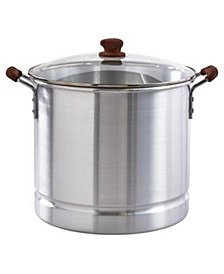 32-Qt. Steamer with Glass Lid and Wood look Handles