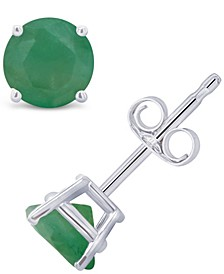 Emerald (1 ct. t.w.) Stud Earrings in 14K White Gold. Also Available in 14K Yellow Gold