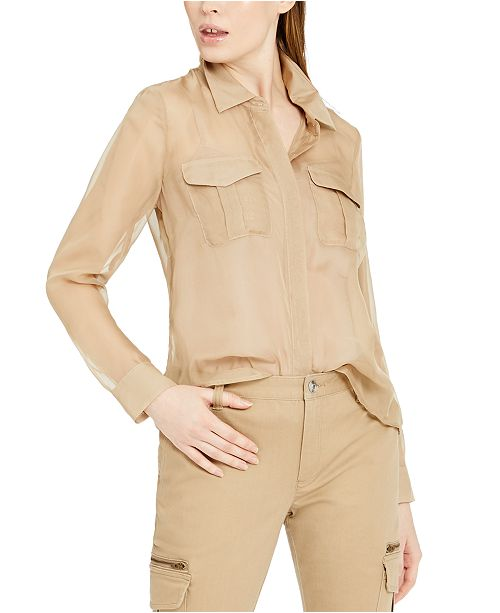 INC International Concepts INC Sheer Utility Shirt, Created for Macy's
