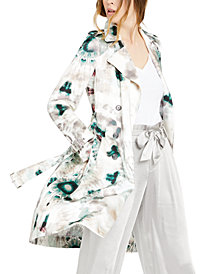INC Tie-Dyed Shine Trench Coat, Created for Macy's