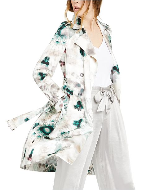 INC International Concepts INC Tie-Dyed Shine Trench Coat, Created for Macy's