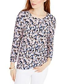 Floral-Print 3/4-Sleeve Top