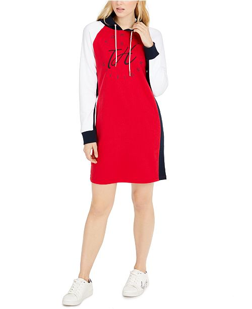 Tommy Hilfiger Colorblocked Cotton Hoodie Dress