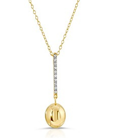 Brilliant Bubbles Diamond 1/10 ct. t.w. Line Pendant Designed in 14k Rose Gold over Sterling Silver