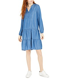 Bib-Front Denim Peasant Dress