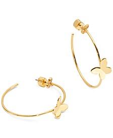 """Gold-Tone Medium Butterfly Hoop Earrings, 1.5"""""""