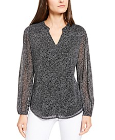 Printed Mesh-Sleeve Top, Created For Macy's