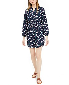 Printed Double-Hem Split-Neck Dress, Created For Macy's