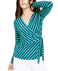 Striped Wrap Top, Created For Macy's