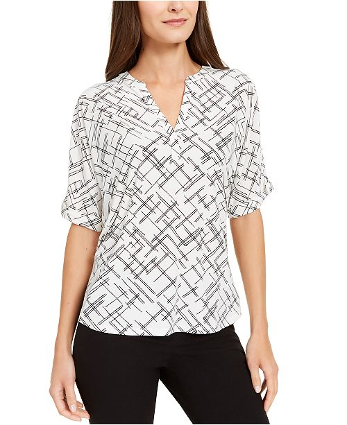 Alfani Abstract-Print V-Neck Top, Created for Macy's