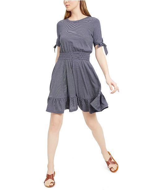 Maison Jules Smocked-Waist Tie-Sleeve Dress, Created for Macy's