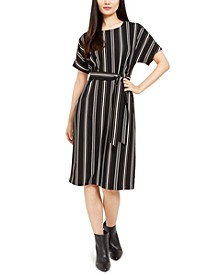Petite Striped Tie-Waist Dress, Created for Macy's