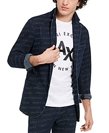 Men's Slim-Fit All-Over Logo Denim Blazer