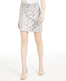 INC Foil Snake-Embossed Mini Skirt, Created for Macy's